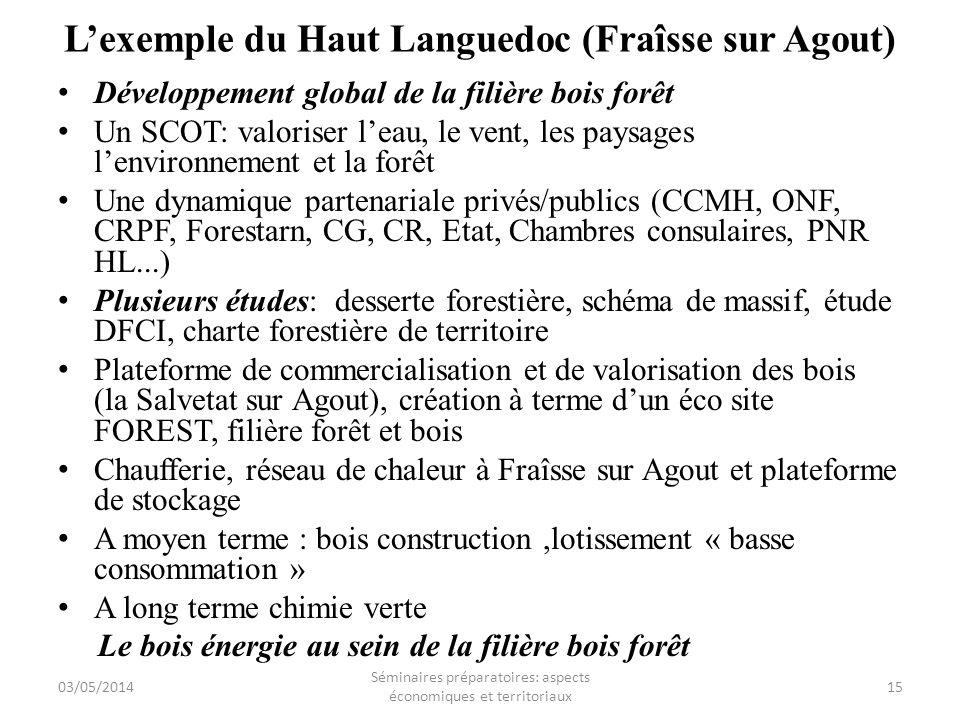 Lexemple du Haut Languedoc (Fraîsse sur Agout) Développement global de la filière bois forêt Un SCOT: valoriser leau, le vent, les paysages lenvironne