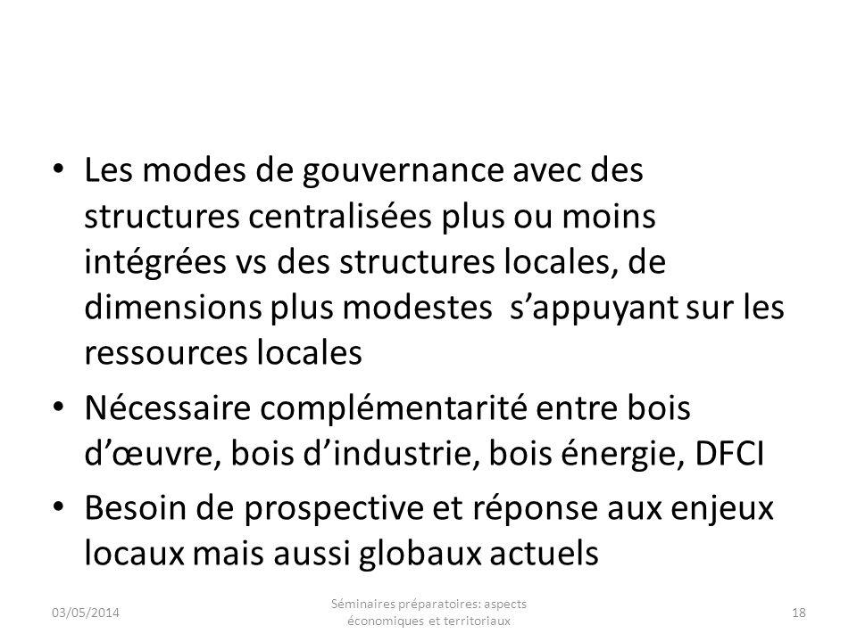 Les modes de gouvernance avec des structures centralisées plus ou moins intégrées vs des structures locales, de dimensions plus modestes sappuyant sur