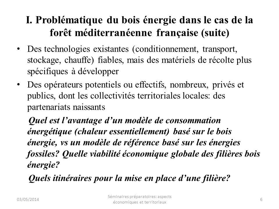 I. Problématique du bois énergie dans le cas de la forêt méditerranéenne française (suite) Des technologies existantes (conditionnement, transport, st