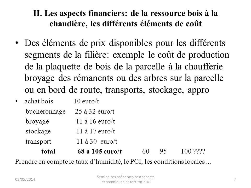 II. Les aspects financiers: de la ressource bois à la chaudière, les différents éléments de coût Des éléments de prix disponibles pour les différents