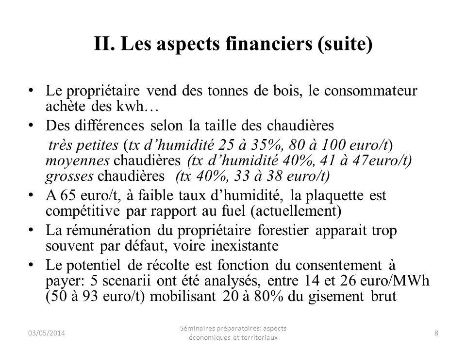 II. Les aspects financiers (suite) Le propriétaire vend des tonnes de bois, le consommateur achète des kwh… Des différences selon la taille des chaudi