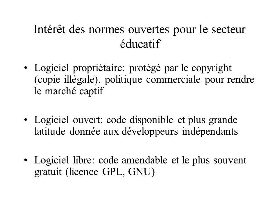 Intérêt des normes ouvertes pour le secteur éducatif Logiciel propriétaire: protégé par le copyright (copie illégale), politique commerciale pour rendre le marché captif Logiciel ouvert: code disponible et plus grande latitude donnée aux développeurs indépendants Logiciel libre: code amendable et le plus souvent gratuit (licence GPL, GNU)