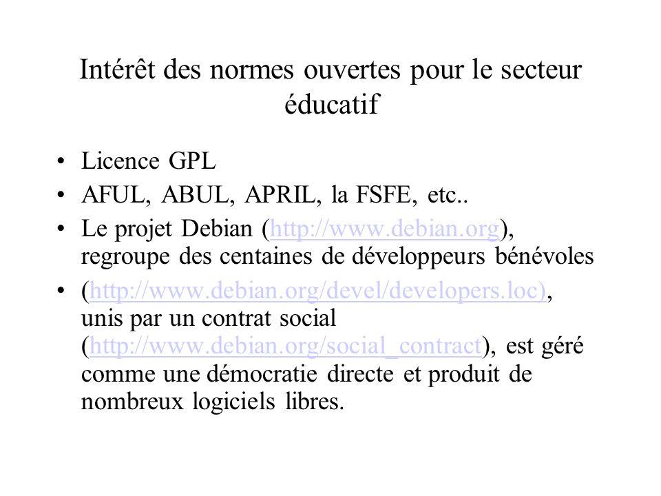 Intérêt des normes ouvertes pour le secteur éducatif Licence GPL AFUL, ABUL, APRIL, la FSFE, etc..