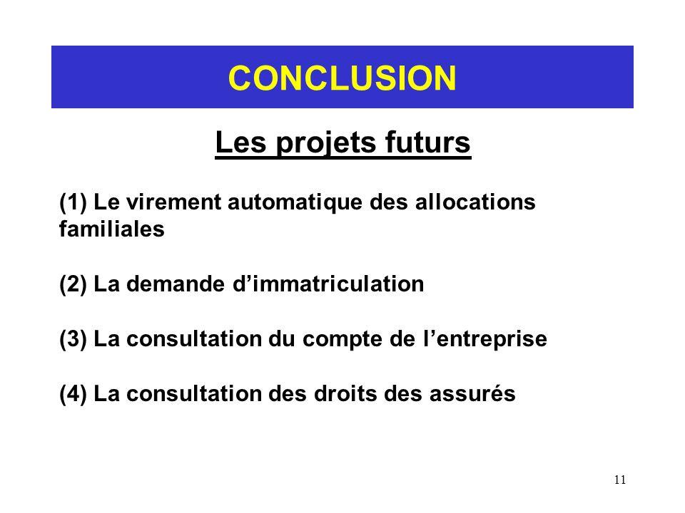 11 CONCLUSION Les projets futurs (1) Le virement automatique des allocations familiales (2) La demande dimmatriculation (3) La consultation du compte
