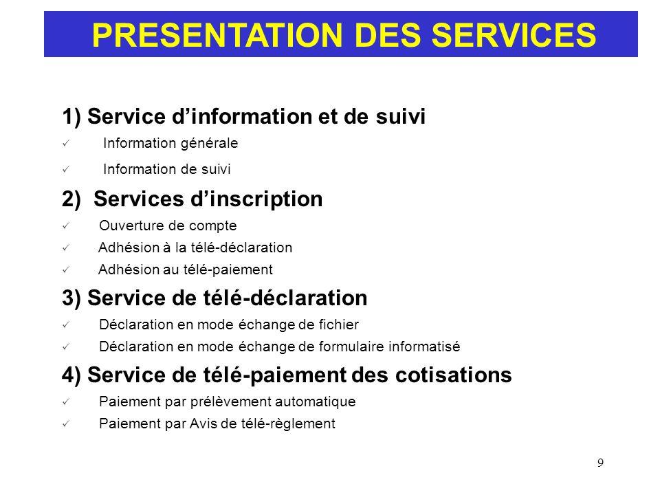 9 PRESENTATION DES SERVICES 1) Service dinformation et de suivi Information générale Information de suivi 2) Services dinscription Ouverture de compte