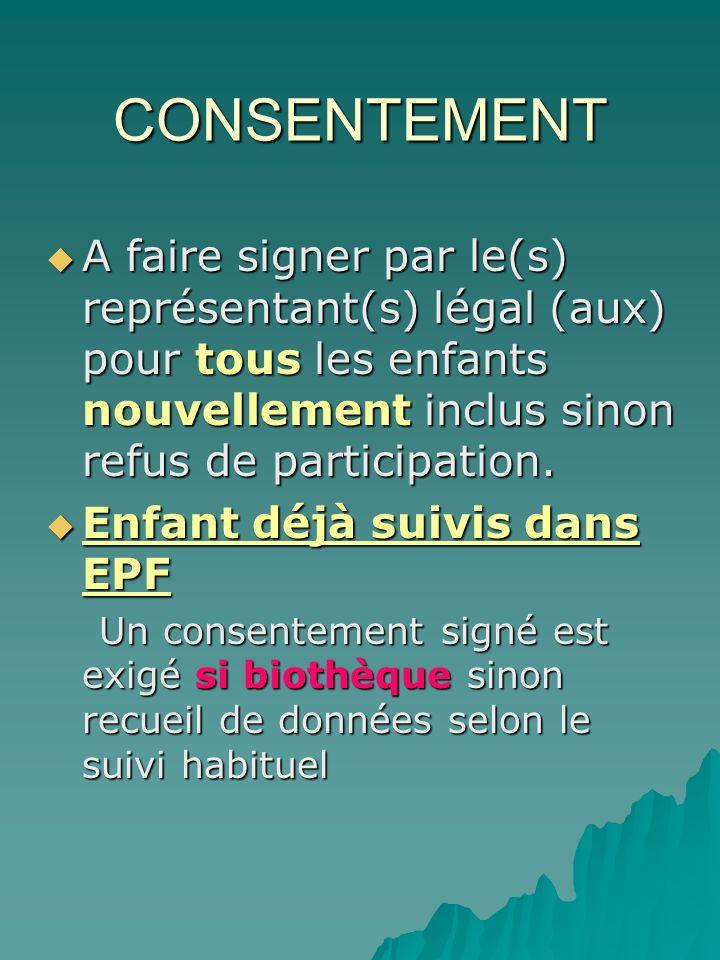 CONSENTEMENT A faire signer par le(s) représentant(s) légal (aux) pour tous les enfants nouvellement inclus sinon refus de participation.