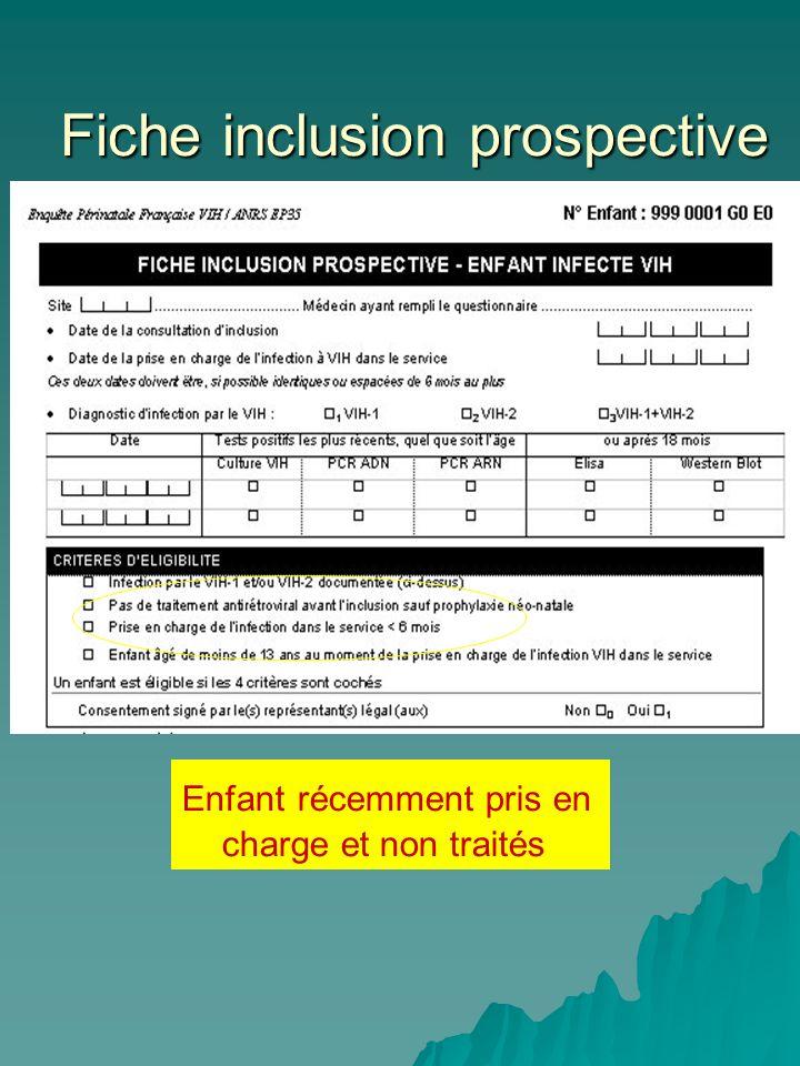 Fiche inclusion prospective Fiche inclusion prospective Enfant récemment pris en charge et non traités