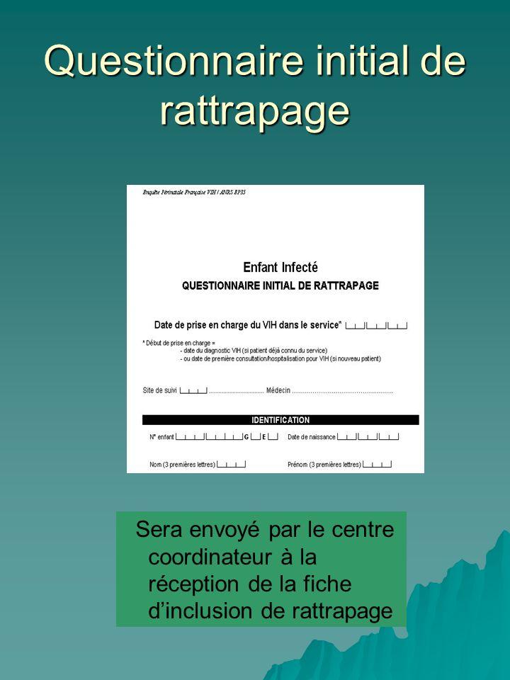 Questionnaire initial de rattrapage Sera envoyé par le centre coordinateur à la réception de la fiche dinclusion de rattrapage