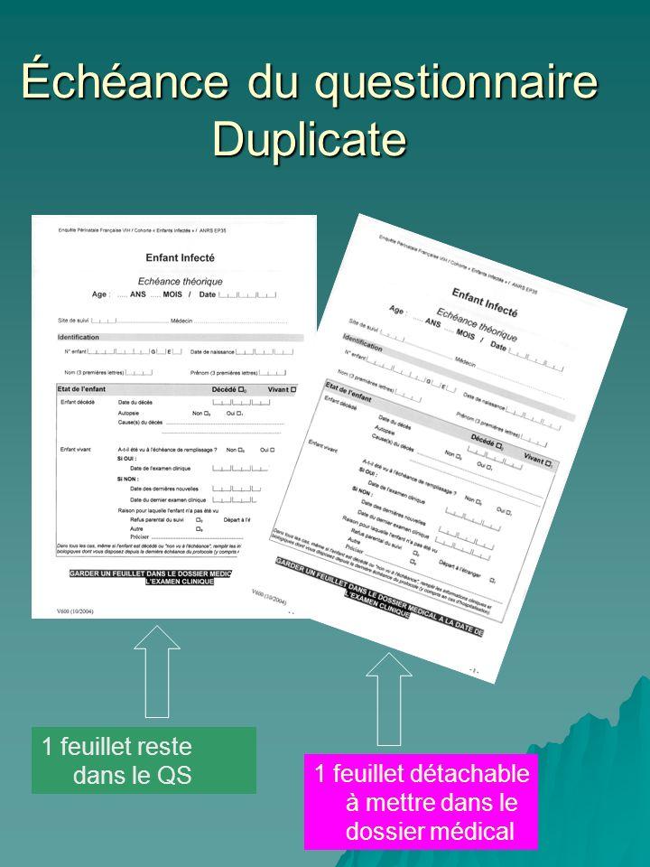 Échéance du questionnaire Duplicate 1 feuillet reste dans le QS 1 feuillet détachable à mettre dans le dossier médical