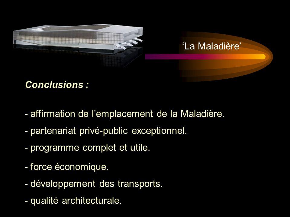 Conclusions : - affirmation de lemplacement de la Maladière. - partenariat privé-public exceptionnel. - programme complet et utile. - force économique