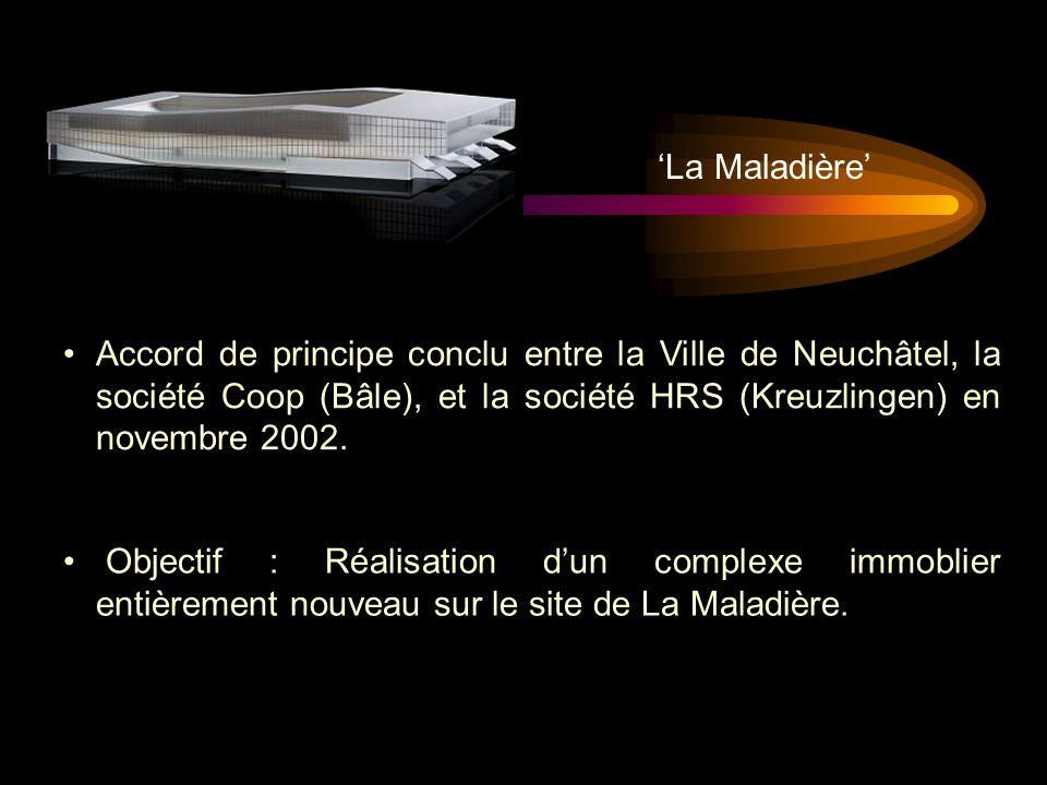 Accord de principe conclu entre la Ville de Neuchâtel, la société Coop (Bâle), et la société HRS (Kreuzlingen) en novembre 2002. Objectif : Réalisatio