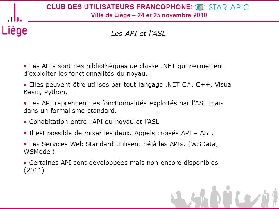 Les API et lASL Les APIs sont des bibliothèques de classe.NET qui permettent dexploiter les fonctionnalités du noyau. Elles peuvent être utilisés par