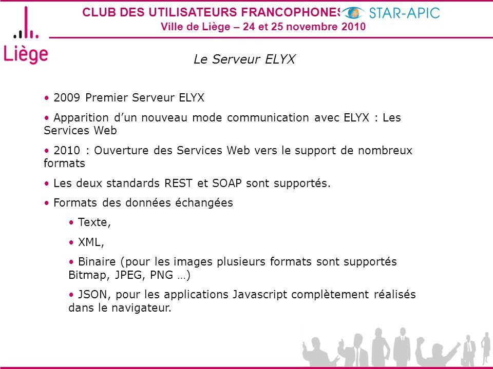 CLUB DES UTILISATEURS FRANCOPHONES STAR-APIC 2010 Ville de Liège – 24 et 25 novembre 2010 Le Serveur ELYX 2009 Premier Serveur ELYX Apparition dun nou