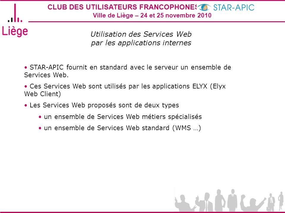 CLUB DES UTILISATEURS FRANCOPHONES STAR-APIC 2010 Ville de Liège – 24 et 25 novembre 2010 Utilisation des Services Web par les applications internes S