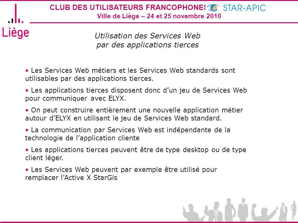 CLUB DES UTILISATEURS FRANCOPHONES STAR-APIC 2010 Ville de Liège – 24 et 25 novembre 2010 Utilisation des Services Web par des applications tierces Le