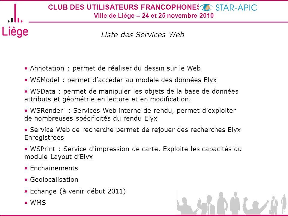 CLUB DES UTILISATEURS FRANCOPHONES STAR-APIC 2010 Ville de Liège – 24 et 25 novembre 2010 Liste des Services Web Annotation : permet de réaliser du de