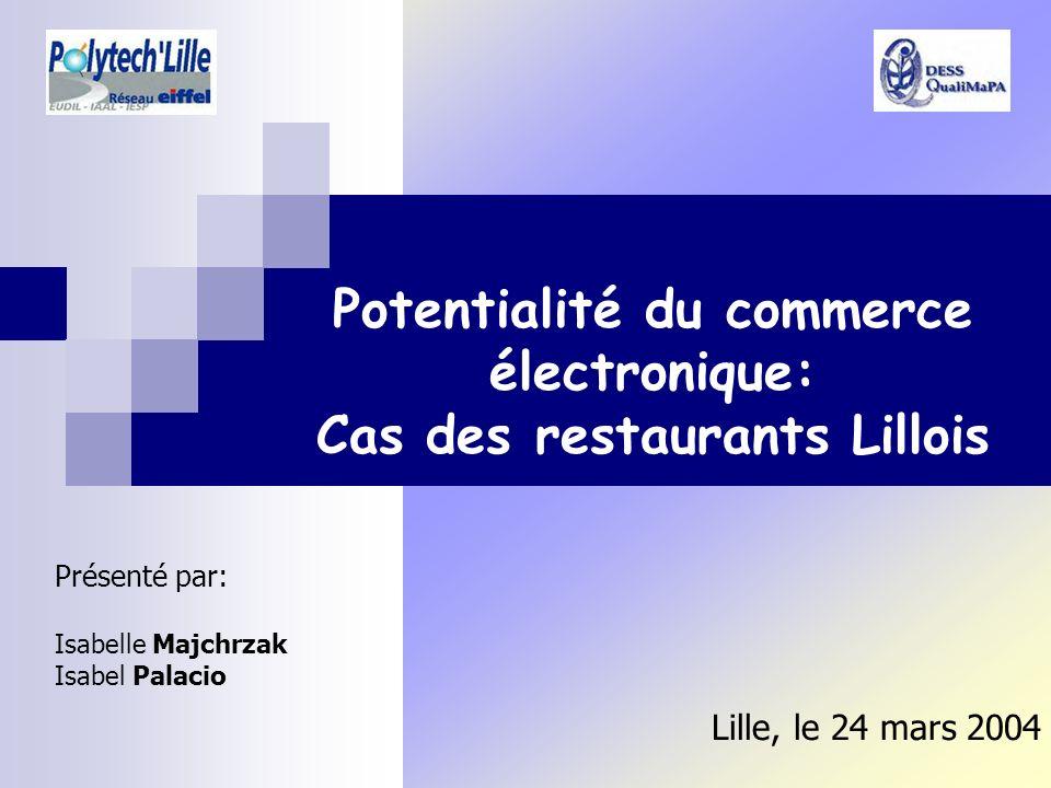 Potentialité du commerce électronique: Cas des restaurants Lillois Présenté par: Isabelle Majchrzak Isabel Palacio Lille, le 24 mars 2004