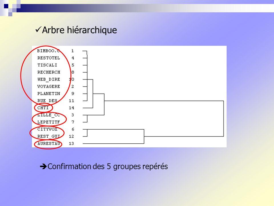 Arbre hiérarchique Confirmation des 5 groupes repérés