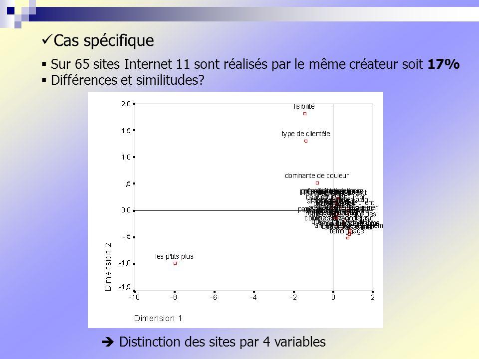 Cas spécifique Sur 65 sites Internet 11 sont réalisés par le même créateur soit 17% Différences et similitudes.