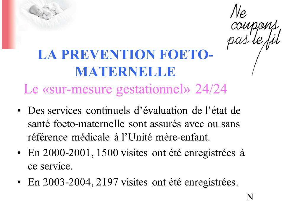 LA PRÉVENTION FOETO- MATERNELLE Le «sur-mesure gestationnel» 24/24 Des services continuels dévaluation de létat de santé foeto-maternelle sont assurés