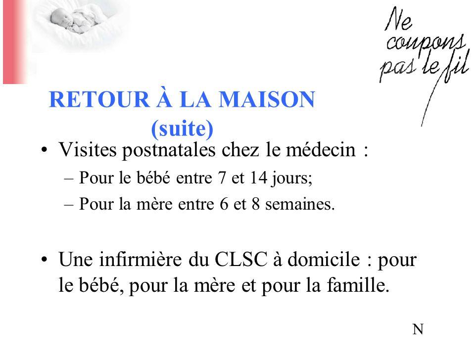 RETOUR À LA MAISON (suite) Visites postnatales chez le médecin : –Pour le bébé entre 7 et 14 jours; –Pour la mère entre 6 et 8 semaines. Une infirmièr