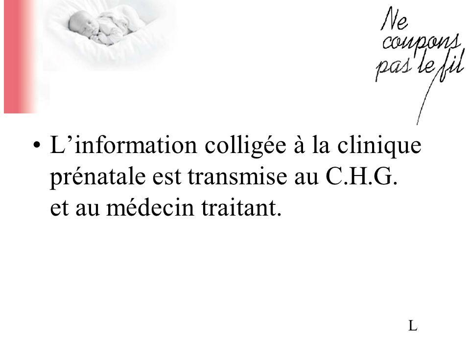 Linformation colligée à la clinique prénatale est transmise au C.H.G. et au médecin traitant. L