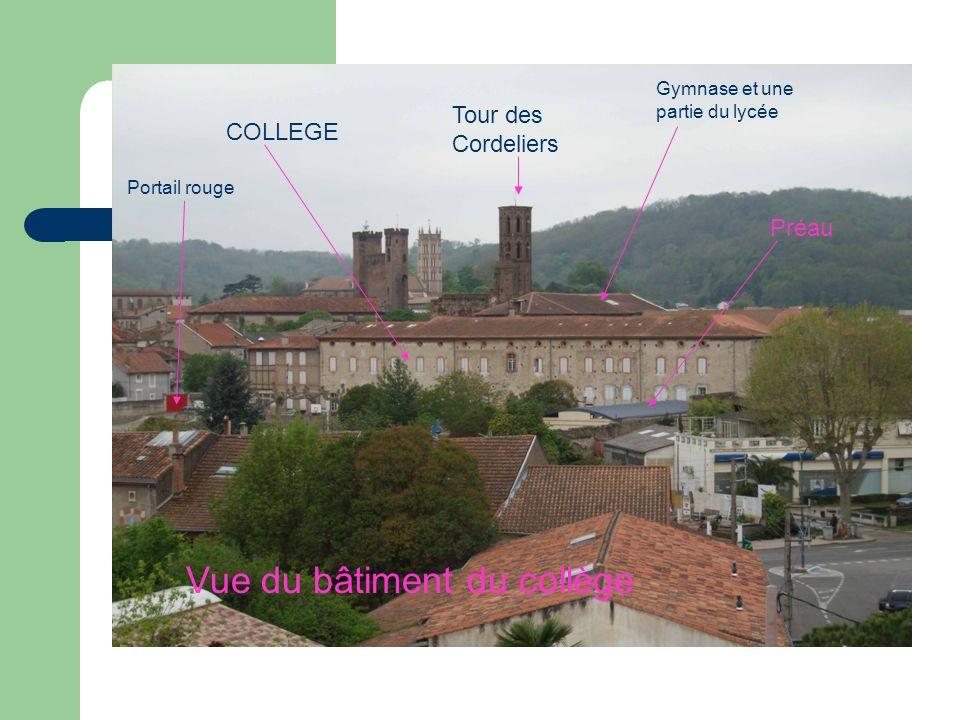Vue du bâtiment du collège Tour des Cordeliers Gymnase et une partie du lycée Portail rouge Préau COLLEGE