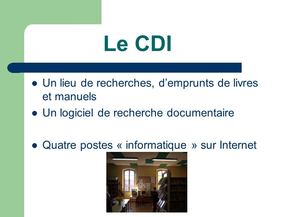 Le CDI Un lieu de recherches, demprunts de livres et manuels Un logiciel de recherche documentaire Quatre postes « informatique » sur Internet