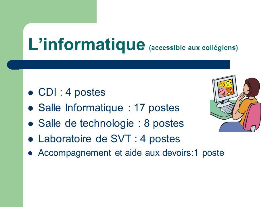 Linformatique (accessible aux collégiens) CDI : 4 postes Salle Informatique : 17 postes Salle de technologie : 8 postes Laboratoire de SVT : 4 postes Accompagnement et aide aux devoirs:1 poste