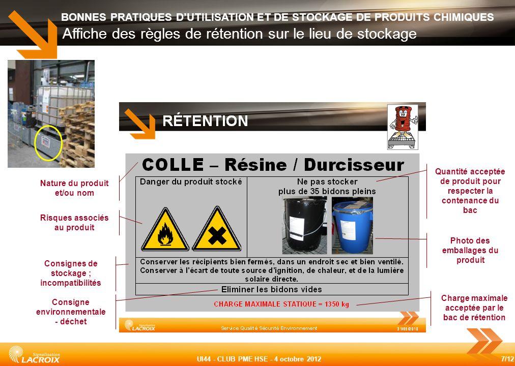7/12 UI44 - CLUB PME HSE - 4 octobre 2012 BONNES PRATIQUES DUTILISATION ET DE STOCKAGE DE PRODUITS CHIMIQUES Affiche des règles de rétention sur le li