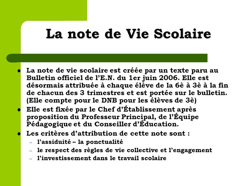 La note de Vie Scolaire La note de vie scolaire est créée par un texte paru au Bulletin officiel de lE.N. du 1er juin 2006. Elle est désormais attribu