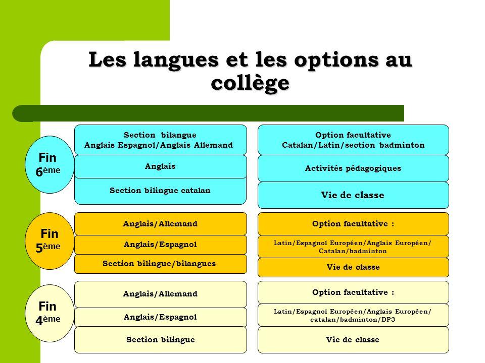 Les langues et les options au collège Section bilingue catalan Section bilangue Anglais Espagnol/Anglais Allemand Anglais Vie de classe Activités péda