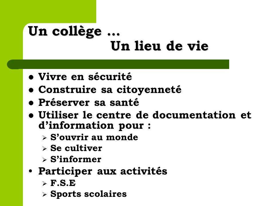 Un collège … Un lieu de vie Vivre en sécurité Construire sa citoyenneté Préserver sa santé Utiliser le centre de documentation et dinformation pour :