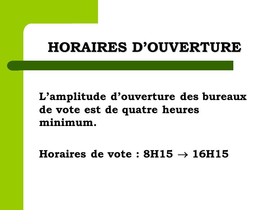HORAIRES DOUVERTURE Lamplitude douverture des bureaux de vote est de quatre heures minimum. Horaires de vote : 8H15 16H15