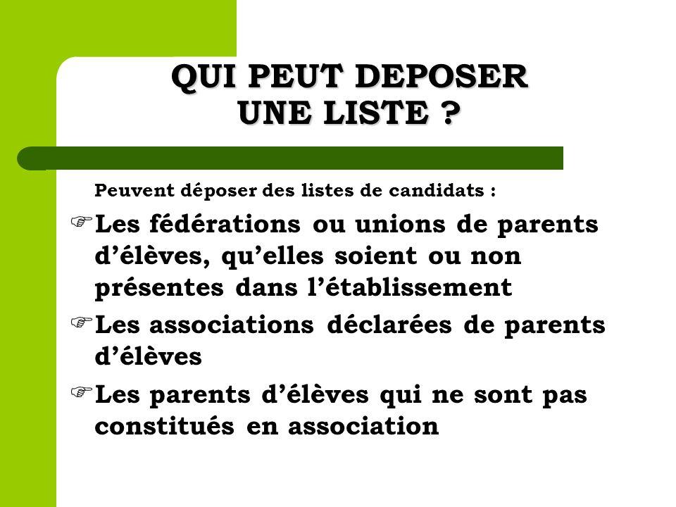 QUI PEUT DEPOSER UNE LISTE ? Peuvent déposer des listes de candidats : Les fédérations ou unions de parents délèves, quelles soient ou non présentes d
