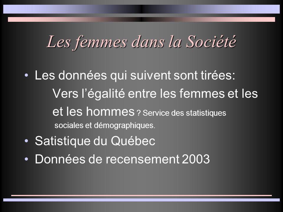 Les femmes dans la Société Les données qui suivent sont tirées: Vers légalité entre les femmes et les et les hommes .