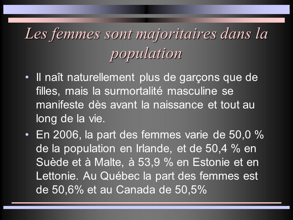 Les femmes sont majoritaires dans la population Il naît naturellement plus de garçons que de filles, mais la surmortalité masculine se manifeste dès avant la naissance et tout au long de la vie.