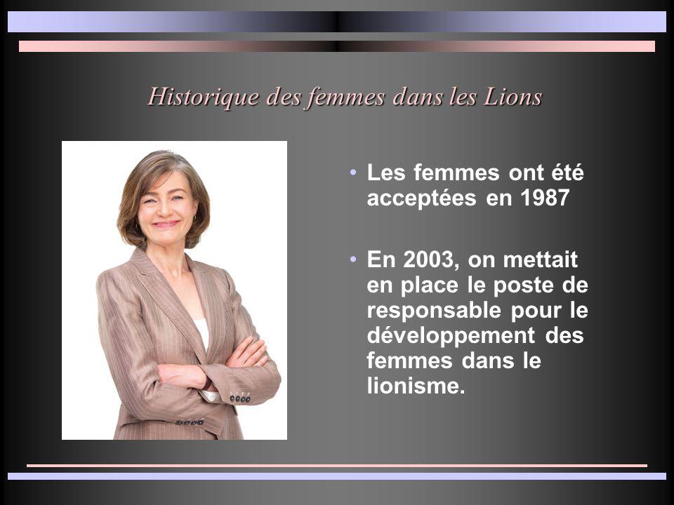 Les bénéfices des femmes dans le lionisme Ajoute une nouvelle perspective pour les activités et les besoins de la communauté Ajoute des nouveaux membres pour les projets ou de nouvelles idées et/ou la main-dœuvre est requise.