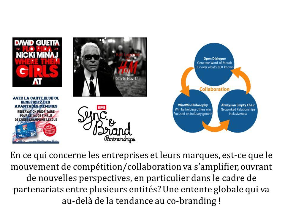 En ce qui concerne les entreprises et leurs marques, est-ce que le mouvement de compétition/collaboration va samplifier, ouvrant de nouvelles perspectives, en particulier dans le cadre de partenariats entre plusieurs entités.