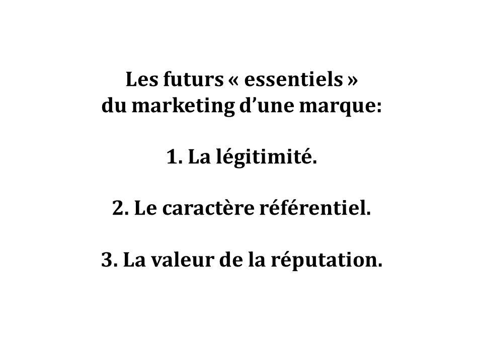 Les futurs « essentiels » du marketing dune marque: 1. La légitimité. 2. Le caractère référentiel. 3. La valeur de la réputation.