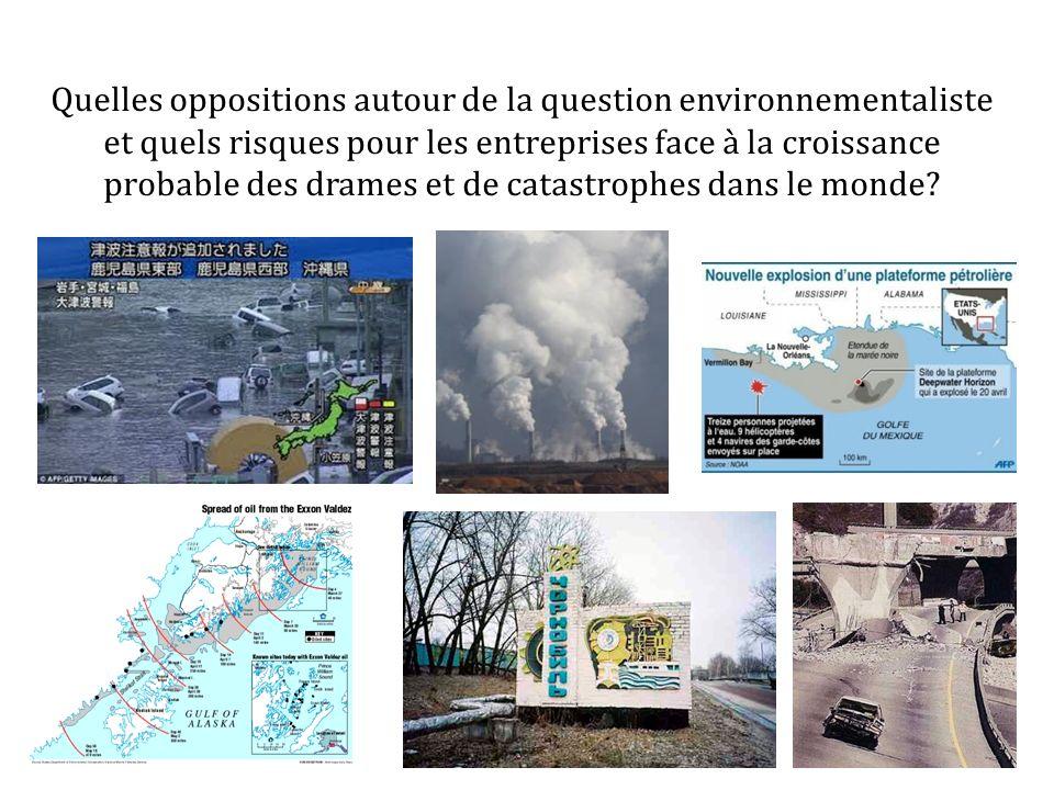 Quelles oppositions autour de la question environnementaliste et quels risques pour les entreprises face à la croissance probable des drames et de catastrophes dans le monde
