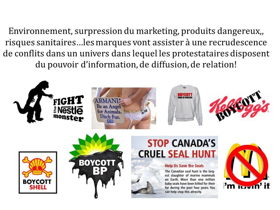 Environnement, surpression du marketing, produits dangereux,, risques sanitaires…les marques vont assister à une recrudescence de conflits dans un univers dans lequel les protestataires disposent du pouvoir dinformation, de diffusion, de relation!