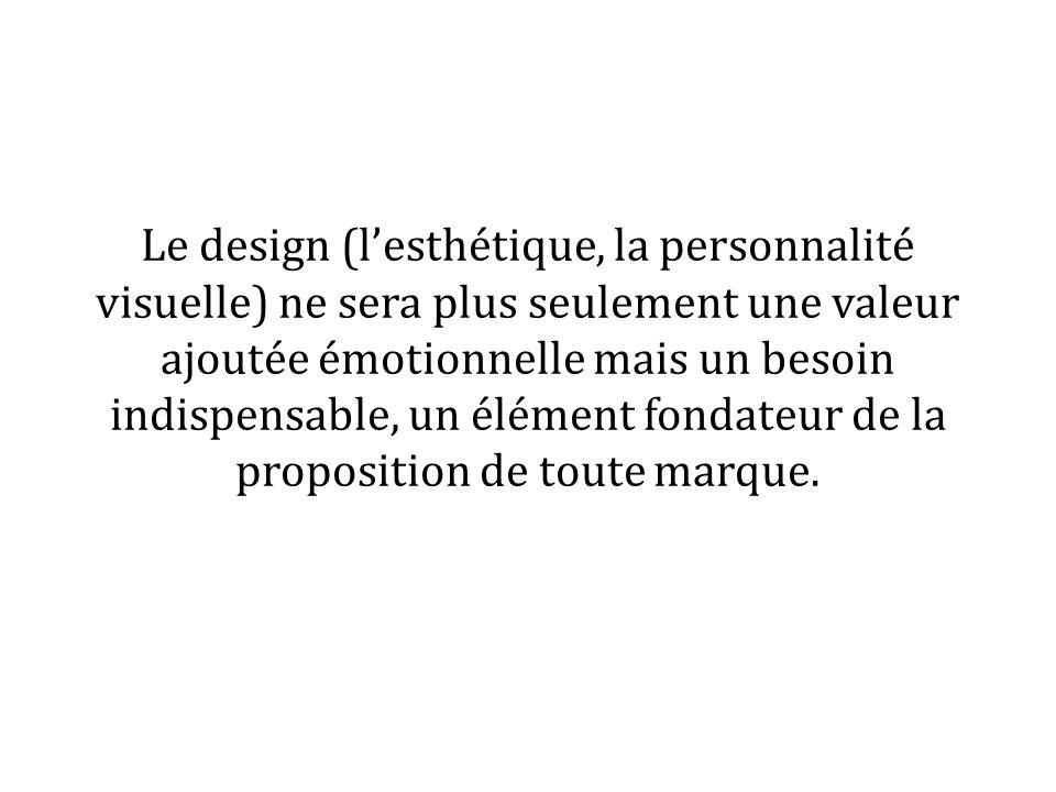 Le design (lesthétique, la personnalité visuelle) ne sera plus seulement une valeur ajoutée émotionnelle mais un besoin indispensable, un élément fondateur de la proposition de toute marque.
