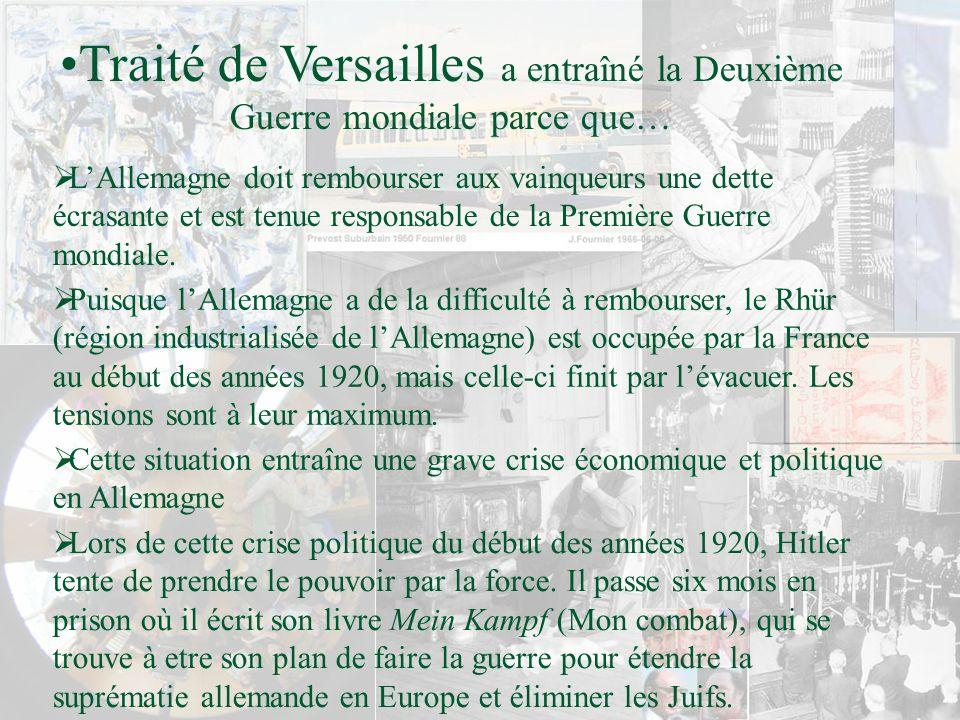 Puisque lAllemagne a de la difficulté à rembourser, le Rhür (région industrialisée de lAllemagne) est occupée par la France au début des années 1920,