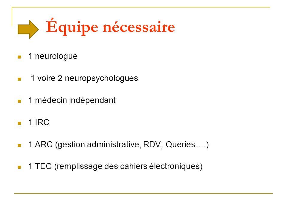 Équipe nécessaire 1 neurologue 1 voire 2 neuropsychologues 1 médecin indépendant 1 IRC 1 ARC (gestion administrative, RDV, Queries….) 1 TEC (remplissa