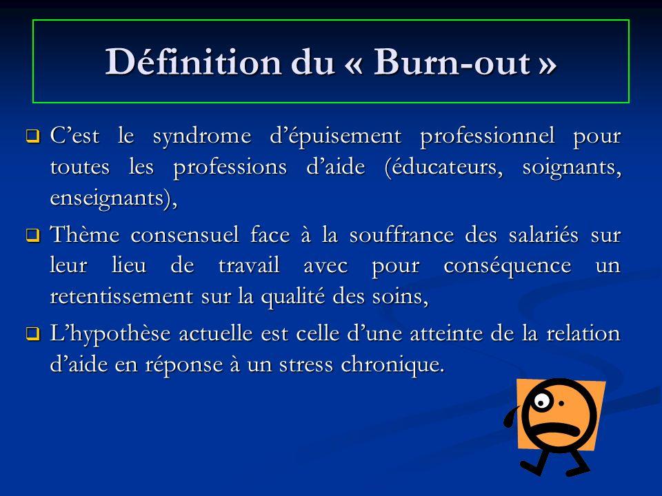 Définition du « Burn-out » Cest le syndrome dépuisement professionnel pour toutes les professions daide (éducateurs, soignants, enseignants), Cest le