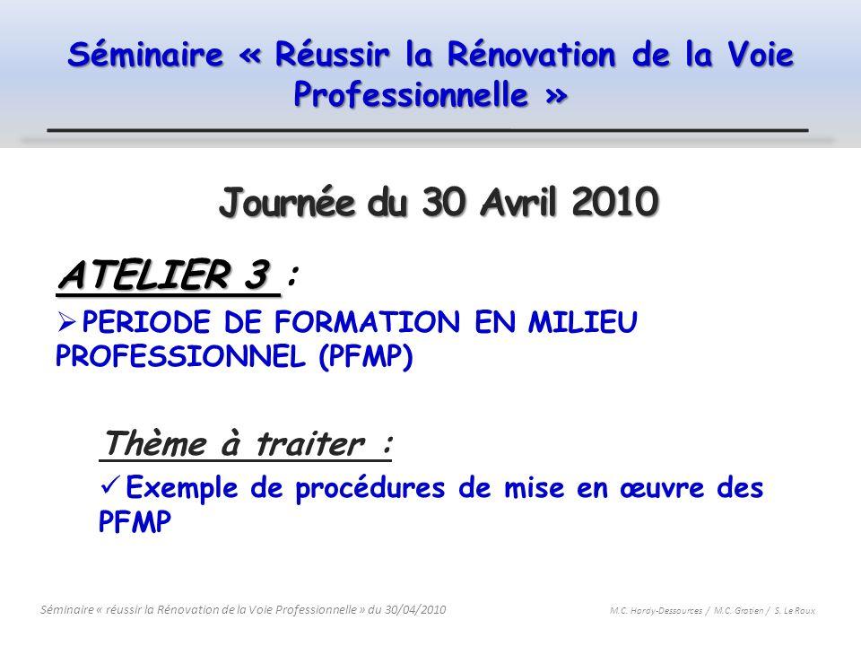Séminaire « Réussir la Rénovation de la Voie Professionnelle » Journée du 30 Avril 2010 ATELIER 3 ATELIER 3 : PERIODE DE FORMATION EN MILIEU PROFESSIO