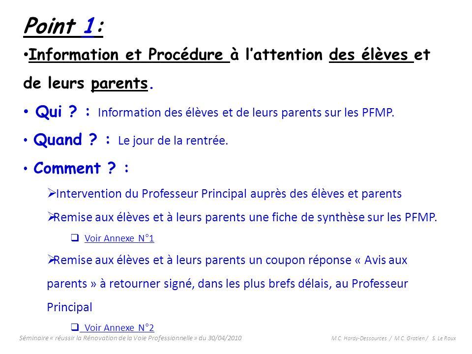 Séminaire « réussir la Rénovation de la Voie Professionnelle » du 30/04/2010 M.C. Hardy-Dessources / M.C. Gratien / S. Le Roux Point 1: Information et