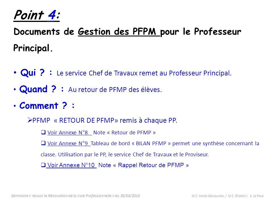 Séminaire « réussir la Rénovation de la Voie Professionnelle » du 30/04/2010 M.C. Hardy-Dessources / M.C. Gratien / S. Le Roux Point 4: Documents de G