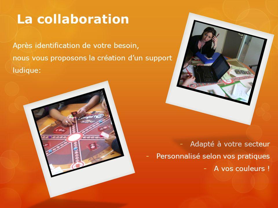 La collaboration Après identification de votre besoin, nous vous proposons la création dun support ludique: -Adapté à votre secteur -Personnalisé selo